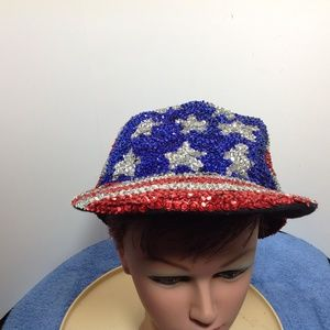 The Halsey Collection Patriotic Sequined Hat EUC!